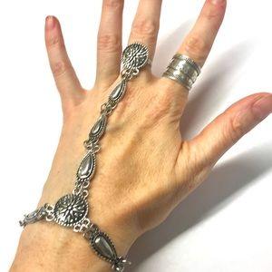 Jewelry - SILVER SLAVE bracelet RING vintage chain BOHO hand